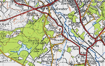 Old map of Hawley in 1940