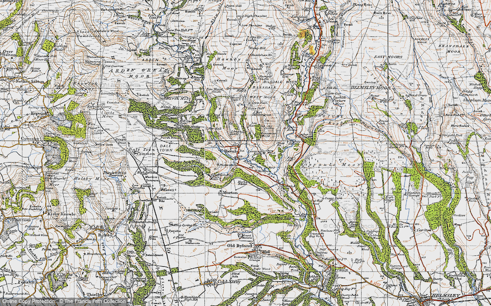 Old Map of Historic Map covering Timber Holme in 1947