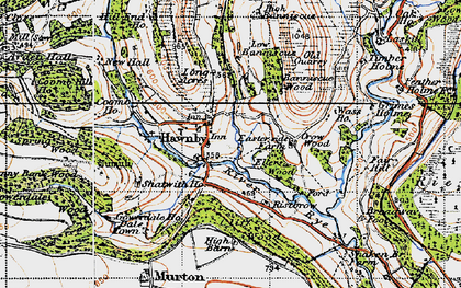 Old map of Woolhouse Croft in 1947