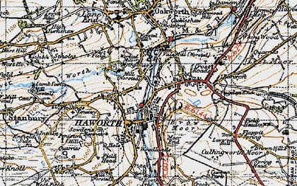 Old map of Haworth in 1947