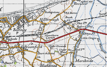 Old map of Hawthorn Corner in 1947