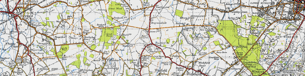 Old map of Hawthorn Hill in 1947