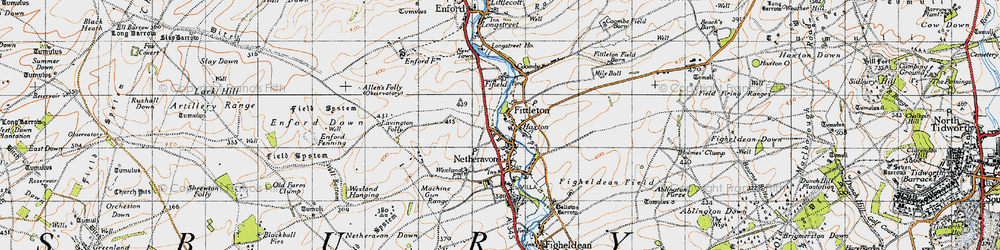 Old map of Haxton in 1940