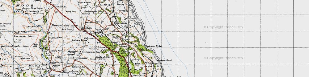 Old map of Hayburn Wyke in 1947