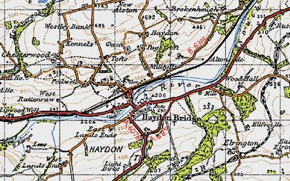 Old map of Haydon Bridge in 1947