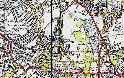 Old map of Hayes in 1946