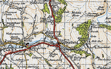 Old map of Hayfield in 1947