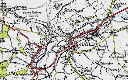 Old map of Hayle in 1946