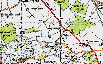 Old map of Haynes in 1946