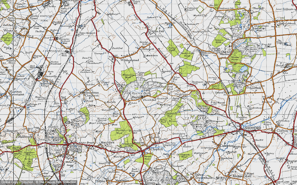 Old Map of Historic Map covering Bedfordshire in 1946
