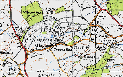 Old map of Haynes Church End in 1946