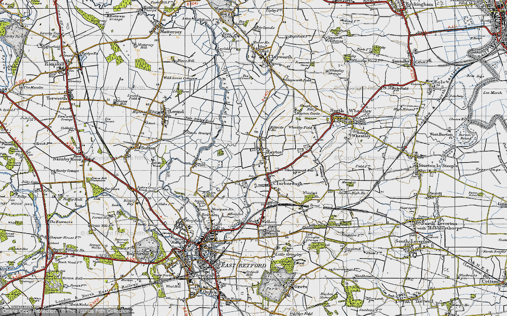 Old Map of Historic Map covering Tiln in 1947