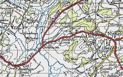 Old map of Ash Bourne in 1940