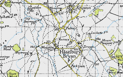 Old map of Hazelbury Bryan in 1945