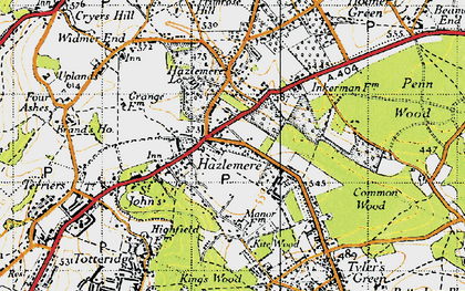 Old map of Hazlemere in 1946
