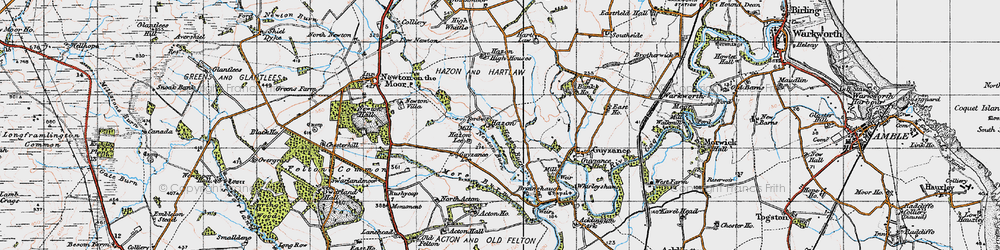 Old map of Acton Ho in 1947