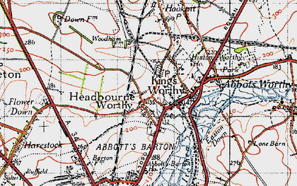 Old map of Headbourne Worthy in 1945