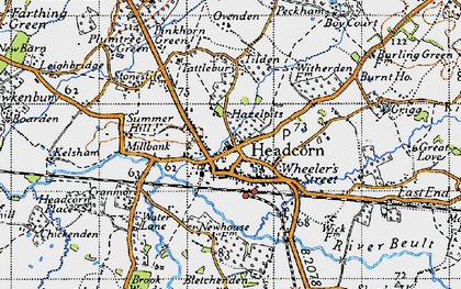Old map of Headcorn in 1940