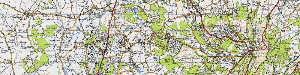 Old map of Headley in 1940