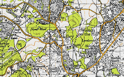 Old map of Headley in 1945