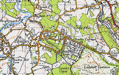 Old map of Headley Down in 1940