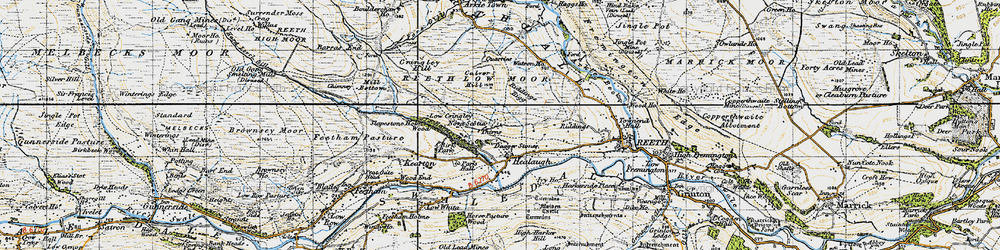 Old map of Healaugh in 1947