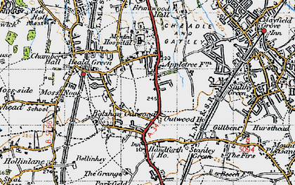 Old map of Heald Green in 1947