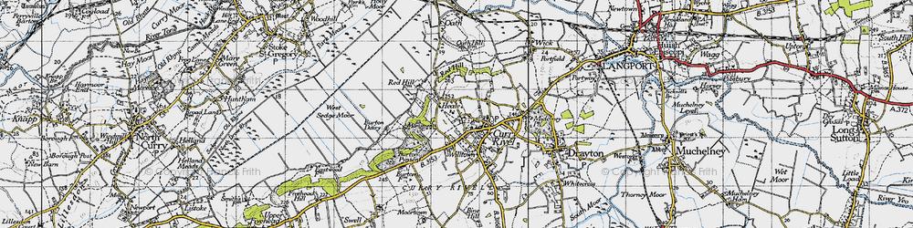 Old map of West Sedge Moor in 1945