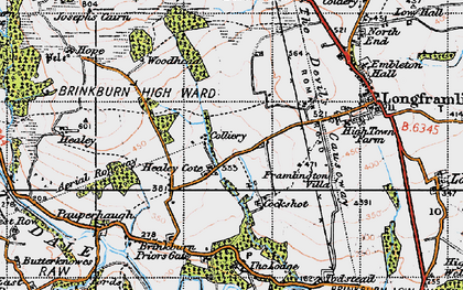 Old map of West Raw in 1947