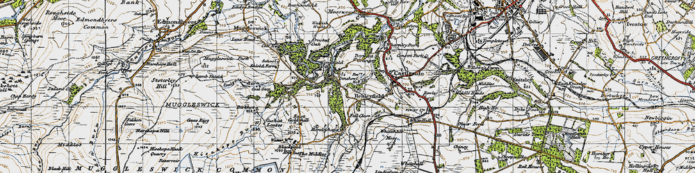 Old map of Whitehall Moss in 1947
