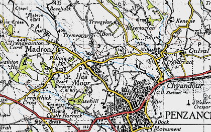 Old map of Heamoor in 1946