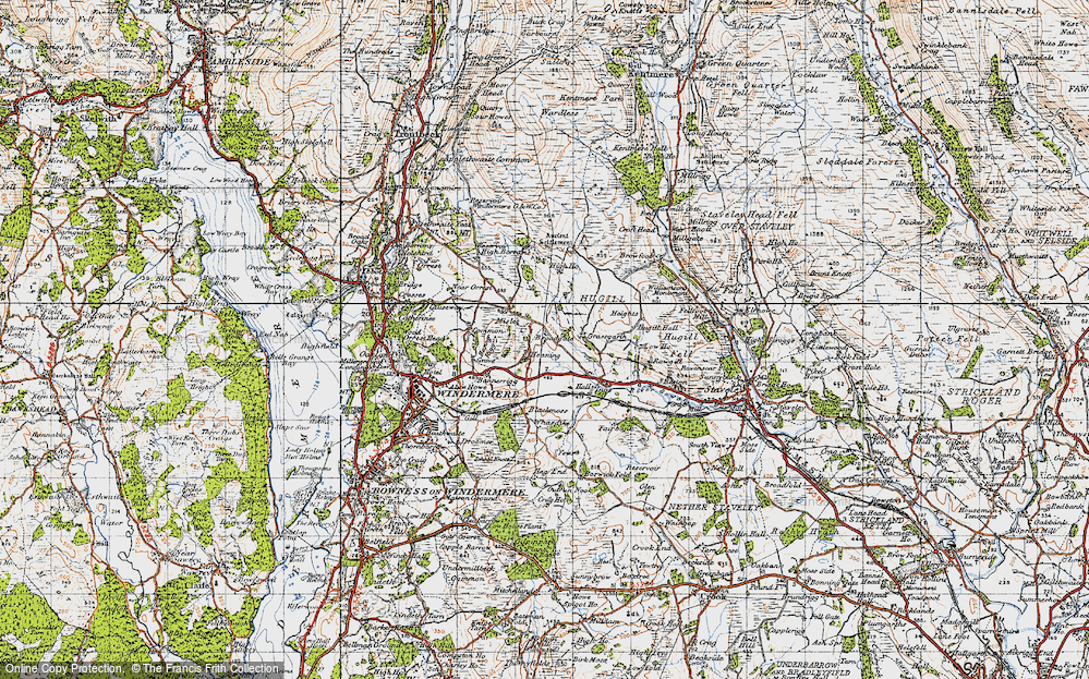 Old Map of Historic Map covering Banner Rigg in 1947