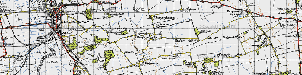Old map of Willoughton Wood in 1947