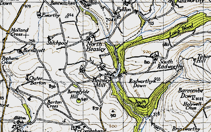 Old map of Bampfylde Hill in 1946