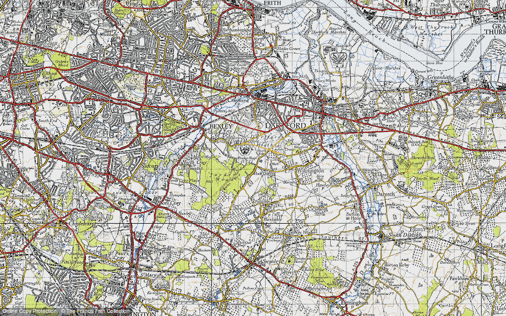 Old Map of Historic Map covering Leyton Cross in 1946