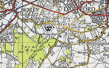 Old map of Leyton Cross in 1946