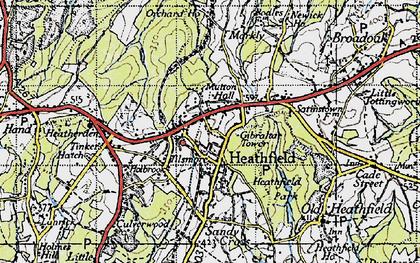 Old map of Heathfield in 1940
