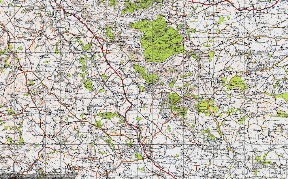 Old Map of Historic Map covering Bagborough Ho in 1946