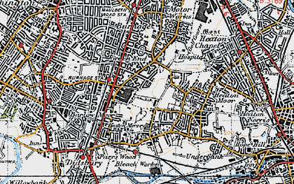 Old map of Heaton Mersey in 1947