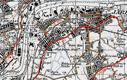 Old map of Hebburn in 1947