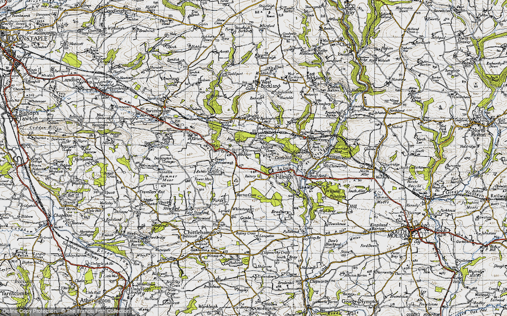 Old Map of Historic Map covering Leary Moors in 1946