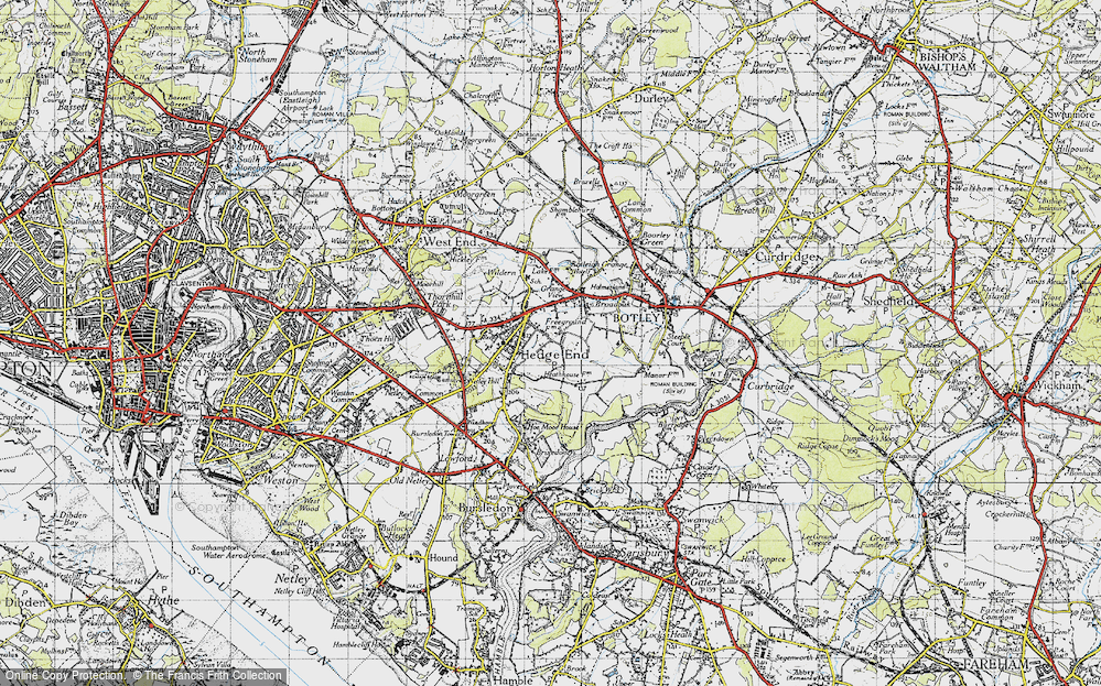 Old Map of Hedge End, 1945 in 1945