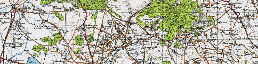 Old map of Hednesford in 1946