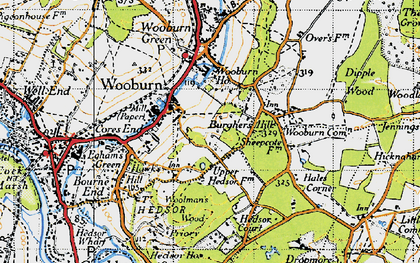 Old map of Hedsor in 1945