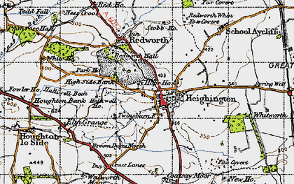 Old map of Heighington in 1947