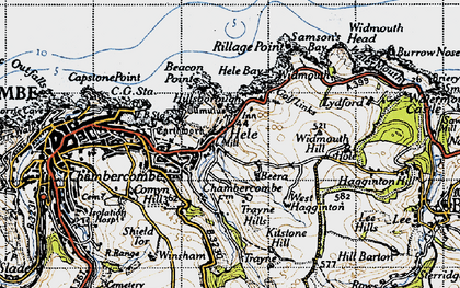 Old map of Hele in 1946
