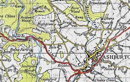 Old map of Ausewell Rocks in 1946