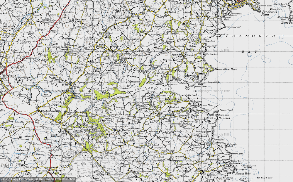 Old Map of Helford, 1946 in 1946