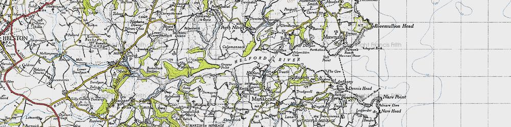 Old map of Helford in 1946
