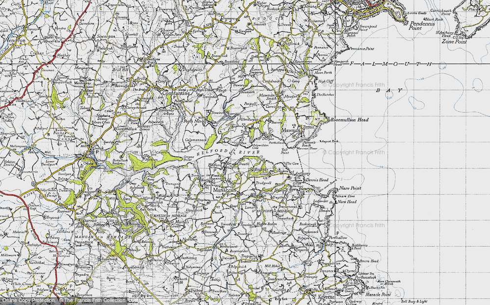 Old Map of Helford Passage, 1946 in 1946